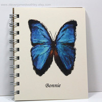 Blue Butterfly Journal  Personalized With by stevenjameskeathley