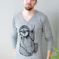 Peace Out Sloth - Unisex V-Neck Long Sleeved Shirt - 5% Donated to Wildlife Conservation Network