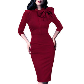 Vintage Women Autumn Elegant 1950s Retro Rockabilly Front Bow Party Formal Business Work Bodycon Sheath Pencil Dress B244