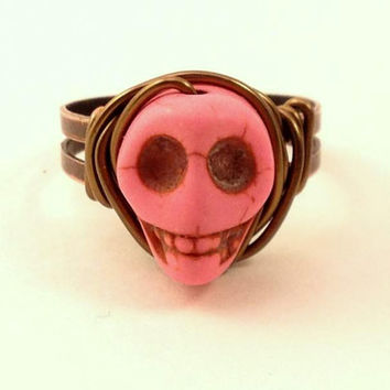 Pink Skull Ring - Pink and Copper Ring - Adjustable Ring - Halloween Ring - Horror Jewelry - Day of the Dead - Howlite Skull Ring