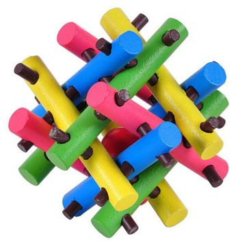 Multi-color 12 Parts Stickers Wooden Brain Teaser Puzzle Game for Adults Children
