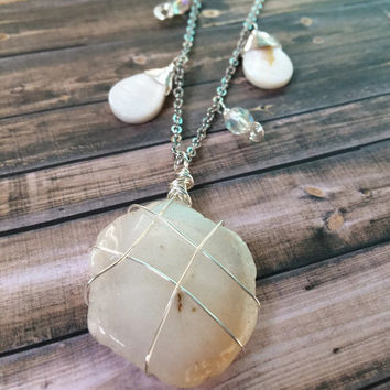 White Stalactite Necklace w/ Mother of Pearl Solar Quartz Necklace Quartz Layering Necklace Solar Quartz Pendant Necklace Charm Necklace N96