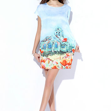 Sky Blue Church And Floral Print Sleeveless Dress