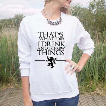 That's What I Do I Drink and I know Things Long Sleeves - Women's Crew Neck Novelty Long Sleeves