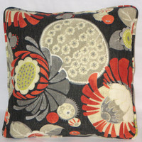 """Black Cactus Flower Throw Pillow Orange Grey Yellow Waverly Copacabana 17"""" Cotton Square Welted Ready Ship Cover and Insert"""