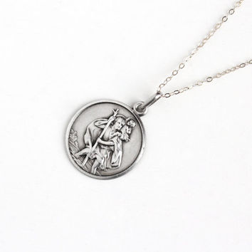 Vintage 800 Silver St. Christopher & Car Pendant Fob Italian Necklace - Uno A Erre Religious Saint Catholic Safe Travels Charm Italy Jewelry