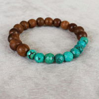 Mens Turquoise and wood bracelet | Boho Mens Beaded Bracelet | Mens Bracelet | Gift for Him | Southwestern Jewelry |Yoga Jewelry