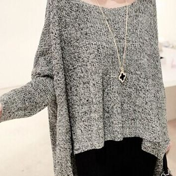 Grey Angel Wings Back Chunky Oversized Batwing Sleeve Pullover Knit Jumper Sweater