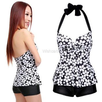 Stylish Sexy Sexy Women's Dots Beach Swimsuit Swimwear Halter Push up Tank Tops and Shorts [9221664260]