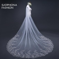 New Arrival 3 Meter White Ivory Cathedral Wedding Veils Long Lace Edge Bridal Veil with Comb Wedding Accessories wedding veils