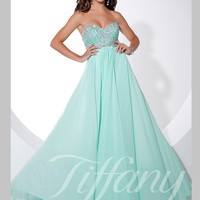 Sweetheart Beaded Top Floor Length Prom Dress Tiffany Designs 16087