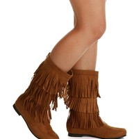 SALE- Brown Traveler Fringe Moccasin Boots
