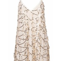 Miss Popular Beige Gold Spaghetti Strap V Neck Sequin Tassel Mock Tie Neck Mini Dress