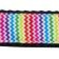 Zigzaggy Rainbow Nylon Ribbon Dog Collars 1 wide 6ft Leash