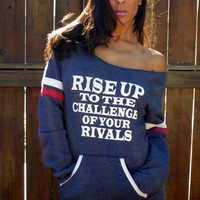 Rise Up to the Challenge of Your Rivals. Off-the-Shoulder Girly Sweatshirt. Size XL.