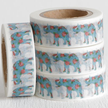 Elephant Washi Tape, Blue Elephants with Pink Roses on White Background Paper Tape, 15mm x 10m