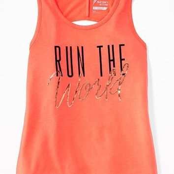 Graphic Twist-Back Performance Tank for Girls|old-navy