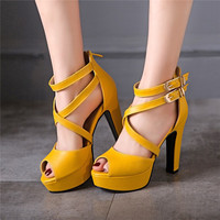 Open Toe Strappy Platform Sandals High Heels 8558