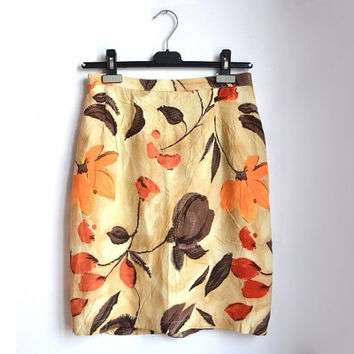 high waisted midi skirt, floral pencil skirt, floral midi skirt, floral print skirt, ochre yellow orange brown