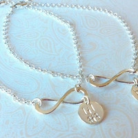 Infinity Sisters-Big Sis Lil Sis Bracelet Set in Sterling Silver --Gift for Sister-Matching Sister Bracelets