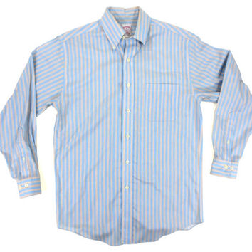 Brooks Brothers Striped Shirt in Blue and Yellow - Oxford Button Down Dress Polo Pastel Ivy League Menswear - Men's Size Small Sm S
