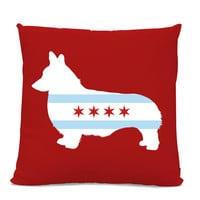 Chicago Flag Corgi Pillow - Chicago Home Decor - Corgi pillow - dog breed silhouette pillow - dog home decor - Dog Pillow - Corgi lover