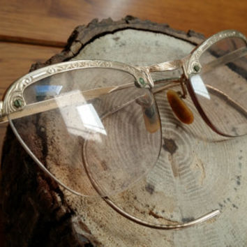 Vintage Gold Etched Half Frameless Glasses Frames Great Vintage Fashion Style Costume Cosplay Decor