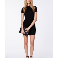 Missguided - Lystra Black Ribbed High Neck Mini Dress