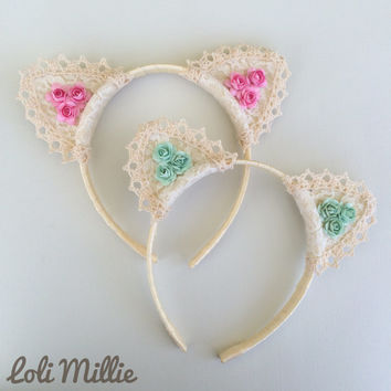 Dreamy Cat Ears Headband - Kawaii Floral Nekomimi Sweet Lolita Hime Gyaru Dolly Cult Party Kei Rave EDM