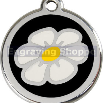 Black Daisy Enamel and Stainless Steel Personalized Custom Pet Tag with LIFETIME GUARANTEE ID Tag Dog Tags and Cat Tags Free Engraving