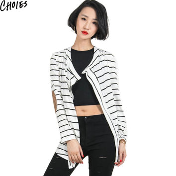 Women White Striped PU Leather Elbow Patch Fall Knitted Cardigans Long Sleeve V Neck Loose Casual Spring Autumn Thin Sweater
