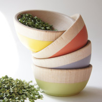Wooden Mini Bowl Set of 4: Fresh Fall Colors, Pinch, Spice, hostess gift