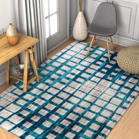 2951 Teal Blue Square Tiles Design Contemporary Area Rugs