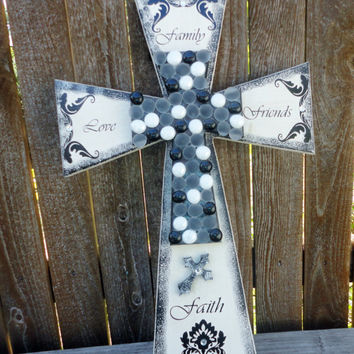 Decorative Crosses,Wooden Cross,Wooden Cross Decor,Wall Cross,Cross Decor,Decorative Cross,Cross Wall Art,Stacked Crosses,Black,White,Cross