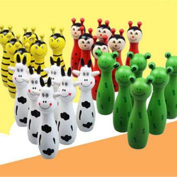 Wooden Animal Bowling Ball SET Game Baby Intellectual Toy Children 6 Pins 2 Ball