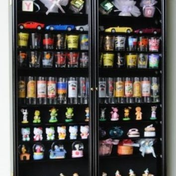XL Shot Glass Display Case Rack Holder Cabinet for Tall Shooter and Mini Liquor Bottle