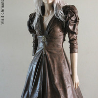 Steampunk Jacket Bolero Leather Gothic Tulle Wedding by chrisst