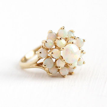 Opal Cluster Ring - Vintage 14k Yellow Gold Harem Princess - Size 6 3/4 Retro Cluster Raised Tiered Gemstone Statement Fine Jewelry
