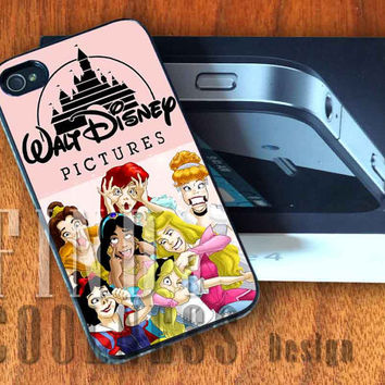 Funny Princess Characters Disney  - Print Custom Case - Rubber or Plastic - iPhone 4 or 4s / 5, Samsung S3 / S4, iPod 4 /5