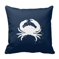Navy Blue Nautical Throw Pillow with White Crab