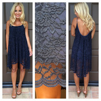Ever Bloom Hi-Low Lace Dress - NAVY