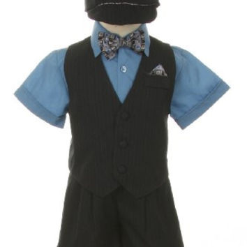 Dress Suit Tuxedo Outfit Set-Shorts,Bowtie,Vest, Short Sleeve Shirt & Hat for Infant Baby Boys, Blue-Gray-Pinstripe, 12 Months