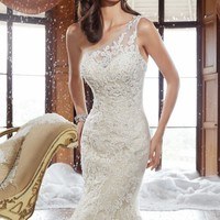 Asymmetrical Lace Gown by Sophia Tolli