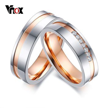 Vnox Personalize Elegant Wedding Rings For Women Men CZ Stones Stainless Steel Couple Promise Band Engagement Wedding Jewelry