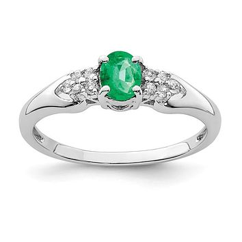 Sterling Silver Genuine Emerald And White Sapphire Ring