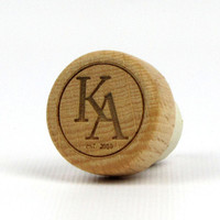 Engraved Solid Wood Topped T-Cork Wine Bottle Stopper - Sample - Monogram and Date