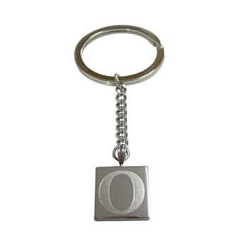 Silver Toned Etched Greek Letter Omicron Pendant Keychain