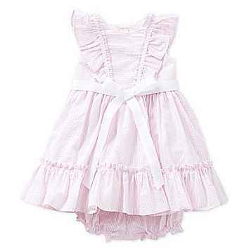 Laura Ashley 12-24 Months Striped Dress - Pink/White