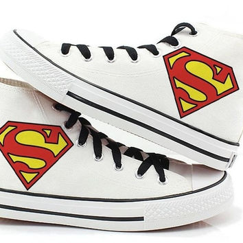 superman Canvas shoes Hand Painted Shoes canvas shoes sneaker shoes high top shoes supermanhand painted shoes = 1946051972