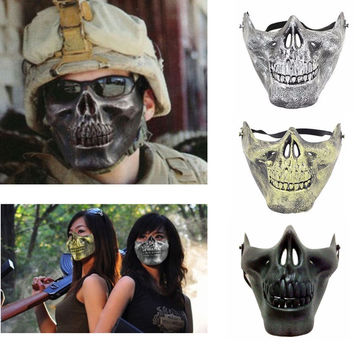 Costume Halloween Airsoft Skull Motorcycle Skull Skeleton Airsoft Hunting Biker Ski Half Face Protect Gear Mask Guard (Black)